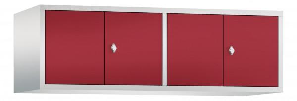 Spind Aufsatzschrank Comfort zueinanderschlagend 4 Türen (400mm) Rubinrot