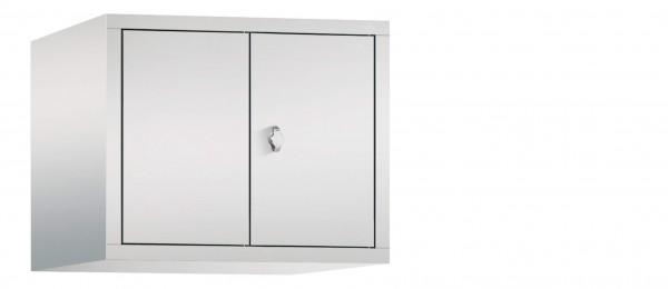 Spind Aufsatzschrank Comfort zueinanderschlagend 2 Türen (300mm) Lichtgrau