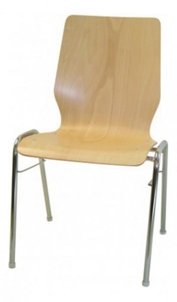 Stapelstuhl Curved mit Sitz- und Rückenschale aus Holz