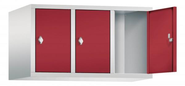 Spind Aufsatzschrank Comfort 3 Türen (300mm) Rubinrot