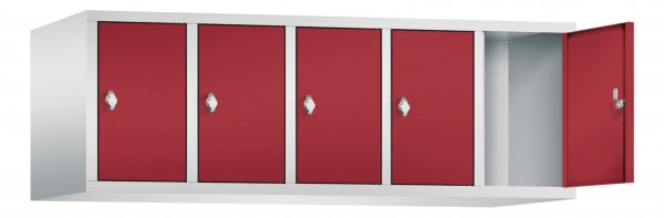 Spind Aufsatzschrank Comfort 5 Türen (300mm) Rubinrot