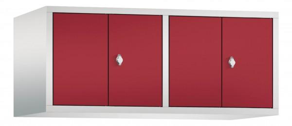 Spind Aufsatzschrank Comfort zueinanderschlagend 4 Türen (300mm) Rubinrot
