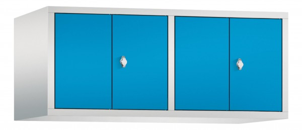 Spind Aufsatzschrank Comfort zueinanderschlagend 4 Türen (300mm) Lichtblau