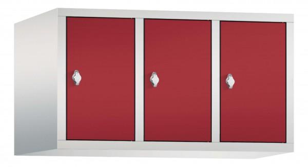 Spind Aufsatzschrank Comfort 3 Türen (400mm) Rubinrot
